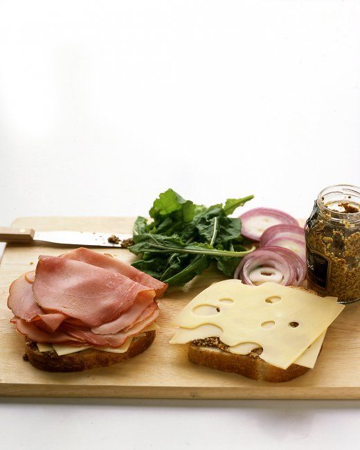 ... ham and Swiss cheese sandwiches. Heat the sandwiches on a grill or in