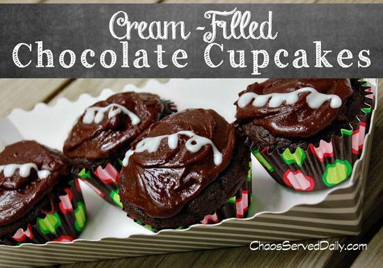 Cream-Filled Chocolate Cupcakes | FOOD! :D :D :D | Pinterest