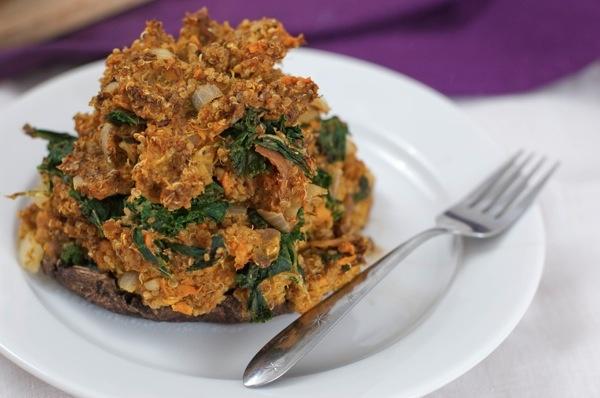 Curried Sweet Potato and Quinoa Stuffed Mushrooms #vegan | Vegetables ...