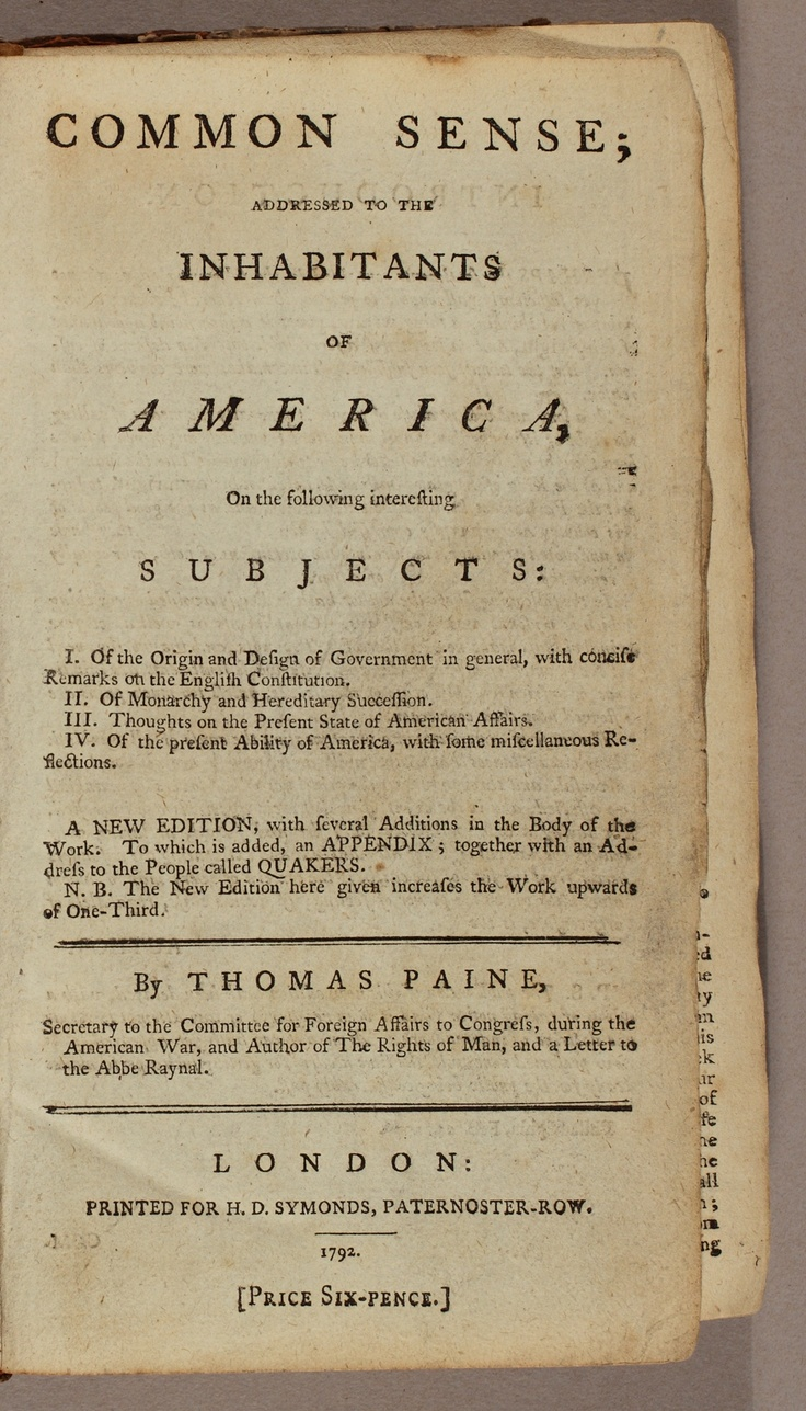 common sense by thomas paine Thomas paine wrote many influential pamphlets, and this quiz/worksheet combo will help you test your understanding of his work you'll be assessed on your knowledge of the contents and historical.
