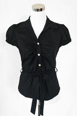 First & Chic - Short Sleeve Button Down Shirt w/ Waist Tie - First