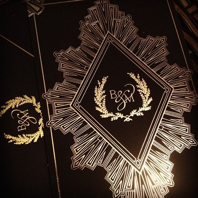 Black and Gold Art Deco wedding invitation. Gatsby inspired.