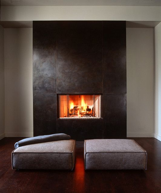steel fireplace surround where the is
