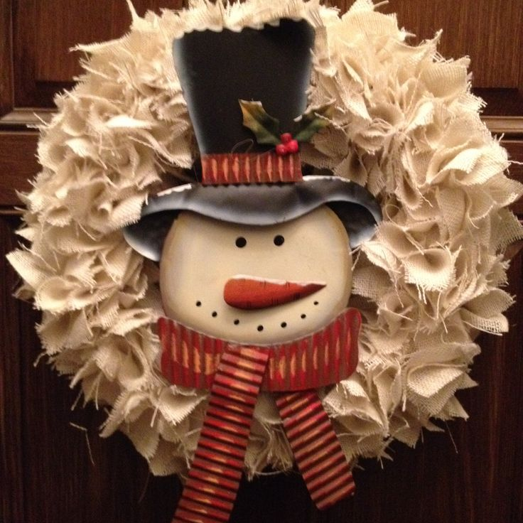 burlap snowman wreath holiday decor pinterest