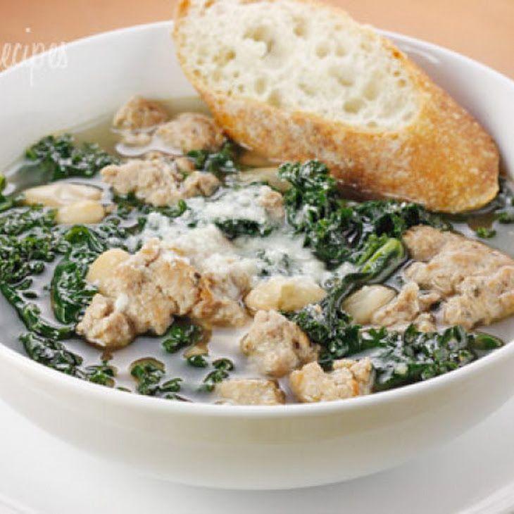 Turkey Sausage, Kale and White Bean Soup | Healthy food | Pinterest