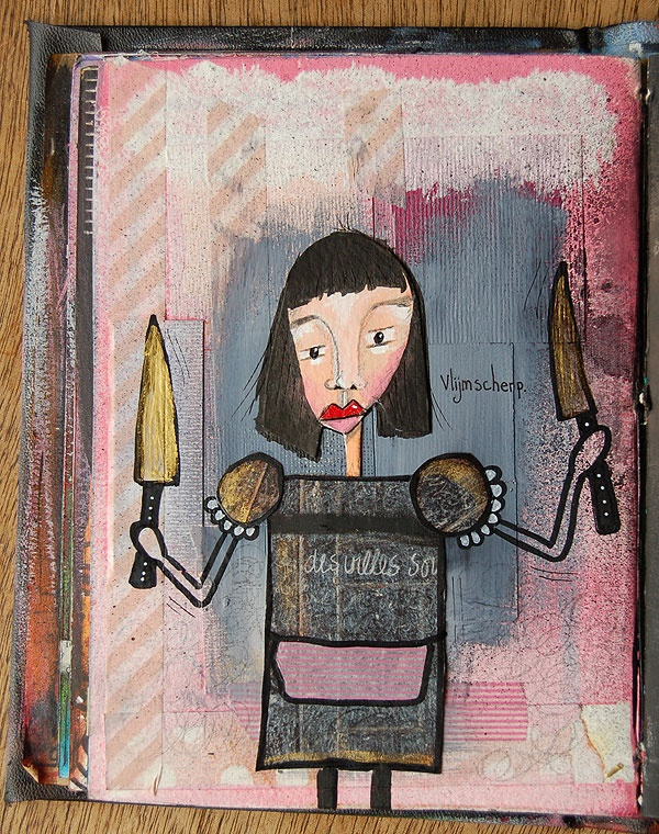 Sharp as a knife | Art Journaling, Mixed Media | acryl paint, collage, pens, washi tape, ink. Art by Marieke.