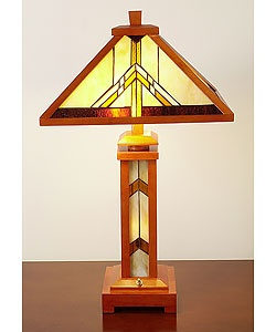 tiffany style wooden table lamp with lighted base. Black Bedroom Furniture Sets. Home Design Ideas