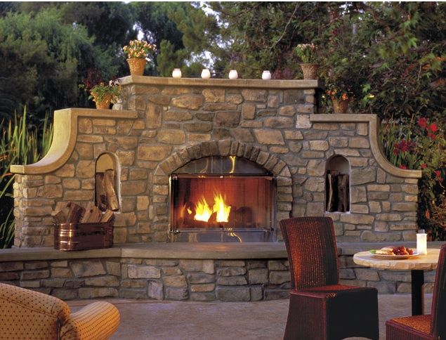 stone wall outdoor fireplace gardening ideas pinterest
