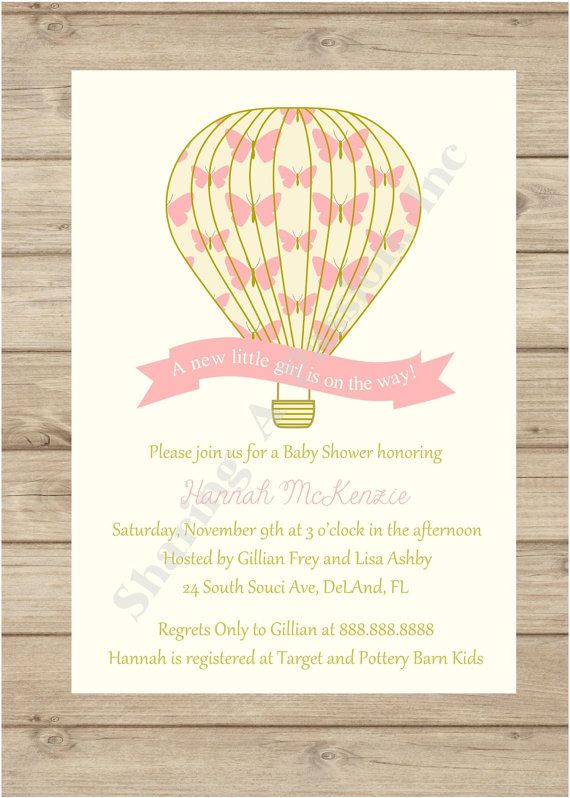 hot air balloon invitation hot air balloon baby shower girl baby