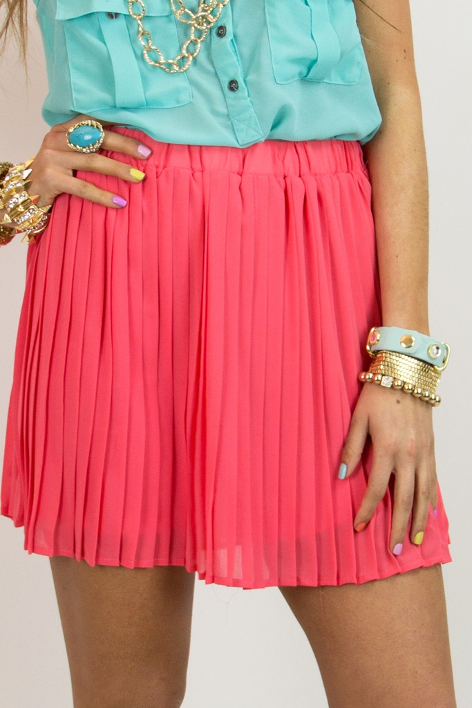 PLEATED SKIRT - Electric coral