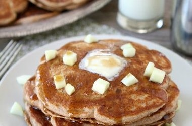 Whole Wheat Apple Cinnamon Pancakes with Cinnamon Syrup Recipes, Click ...