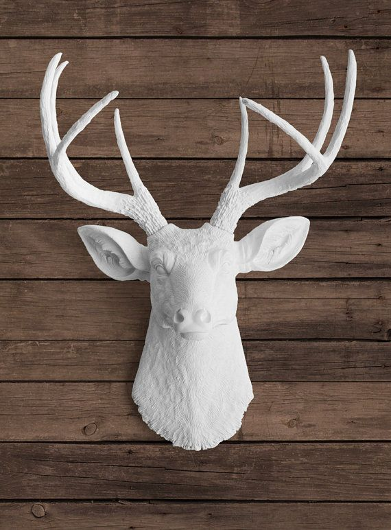 Faux White Deer Head With White Antlers Ceramic