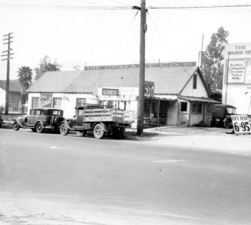 The exterior of the Comalt Company, Inc. after a bust during a prohibition raid by the Glendale Police Department, March 22, 1928. Glendale Central Public Library. San Fernando Valley History Digital Library.