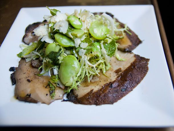 ... with marinated fava beans, frisée, San Queso cheese, and fresh mint