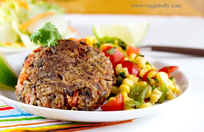 Vegan black bean patties (made with brown rice). Tried this and it was ...