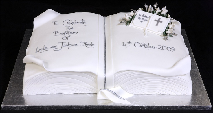 Christening Decorated Cake Shaped In A Bible