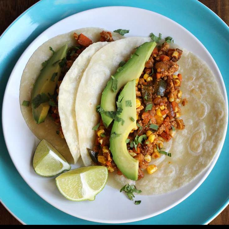 Vegetarian tacos recipe using tempeh, veggies, lots of spices, and ...