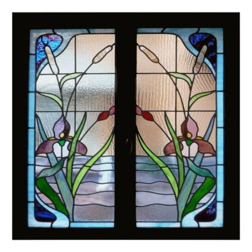 Art deco stained glass window poster sq from for Art deco glass windows