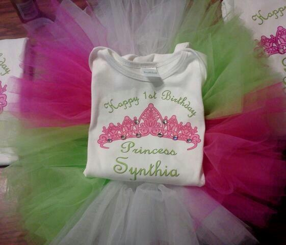 Personalized Princess Tutu Outfit     Fuchsia, Lime Green & White w/ stones added to shirt (close up of the stones added to the shirt)