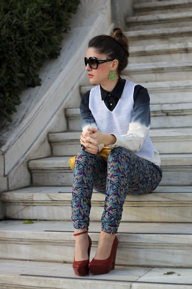 Shop this look on Kaleidoscope (shirt, earrings, heels, vest, pants, clutch, sunglasses)  http://kalei.do/VttxyaOAy6Z8yTKR