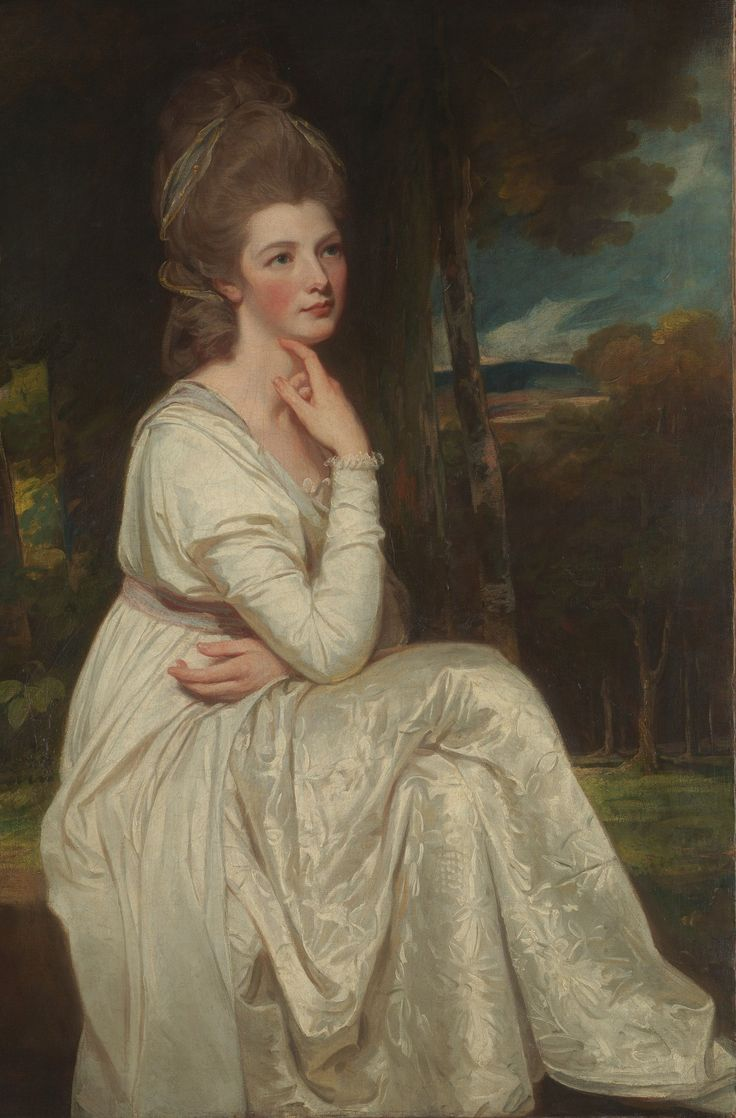 "Lady Elizabeth Stanley (1753–1797), Countess of Derby  George Romney  (English, Beckside 1734–1802 Kendal)   1776–78  Oil on canvas  note: Lady Stanley is wearing the ""chemise a la Reine"" dress that Marie-Antoinette initiated as a trend at the time."