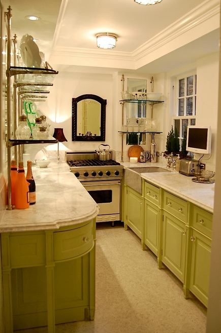 Apple green galley kitchen by greeson and fast design for Turning a galley kitchen into an open kitchen