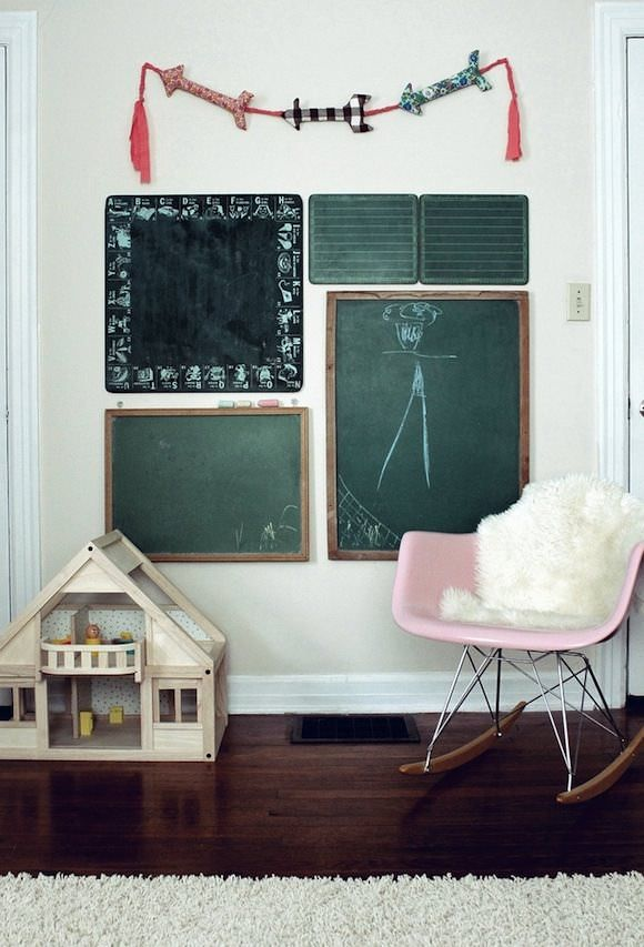 chalkboard wall in kids rooms plus the quintessential #eames rocker
