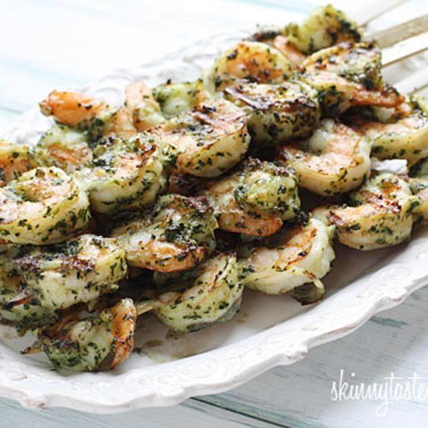 Grilled Pesto Shrimp Skewers - or just put a jar of pesto into a bag ...