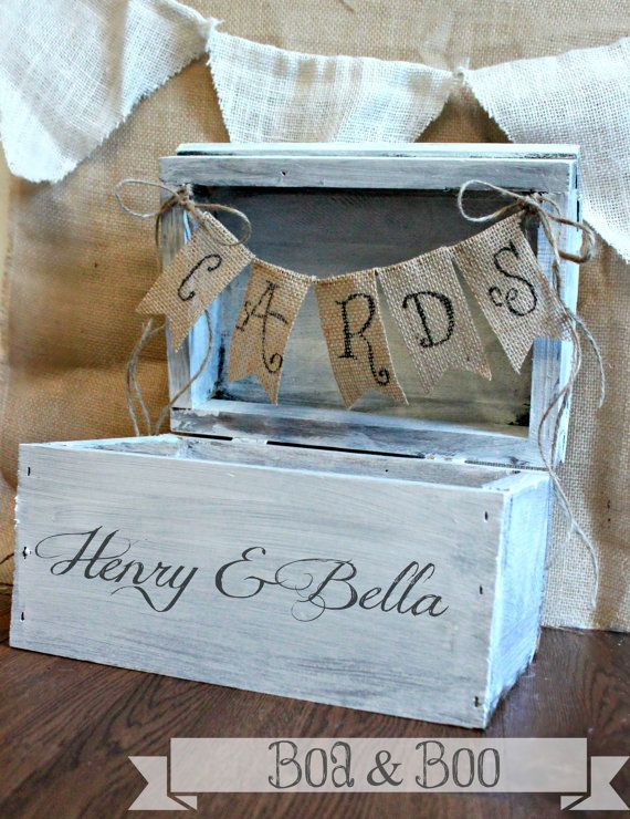 Shabby Chic Rustic Wooden Card Box Wedding Card Box
