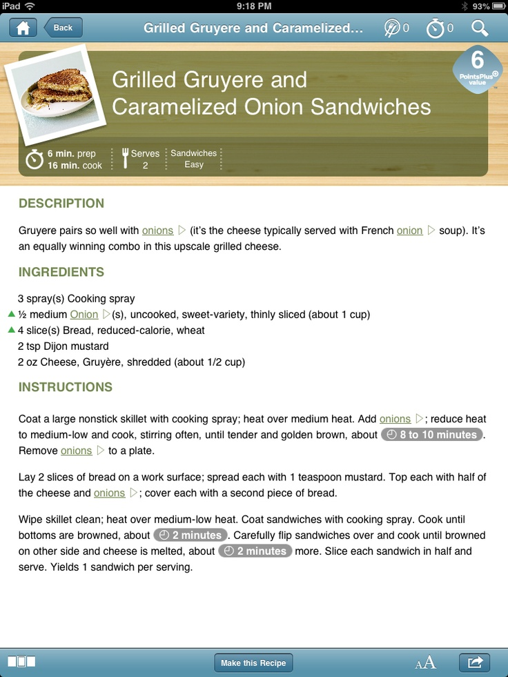 Grilled Gruyere and Caramelized Onion Sandwiches - 6 pts