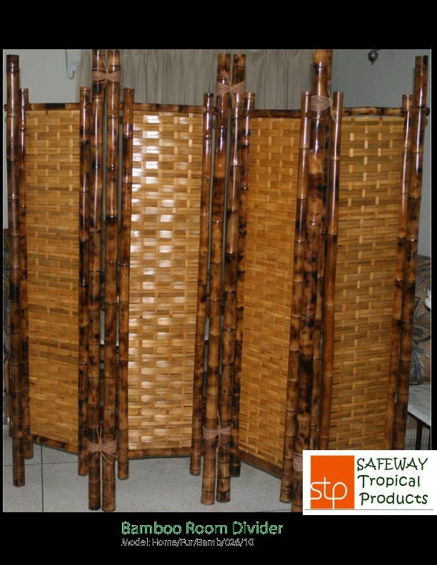 4-panel Black Bamboo Room Divider m