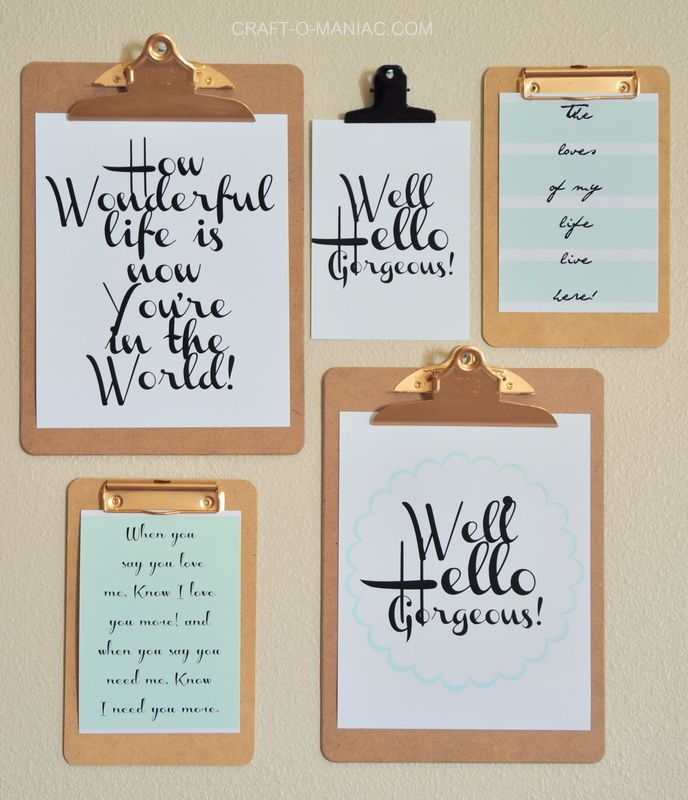 Printable Wall Decor Pinterest : Printable clipboard wall diy art