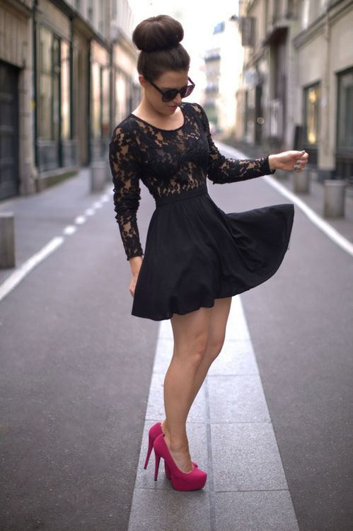 lace dress with the pink shoes made for walking