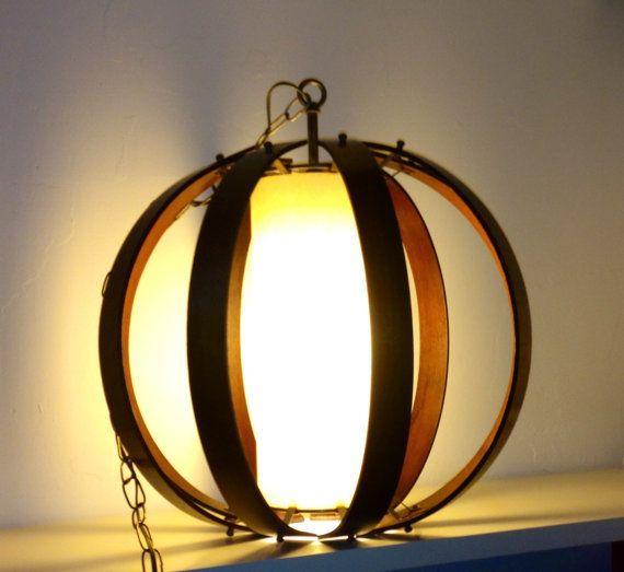 Mid Century Danish Modern Teak Swag Pendant Lamp