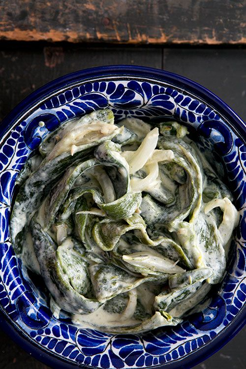 Roasted Poblanos in Cream Sauce (Rajas con Crema) | Recipe