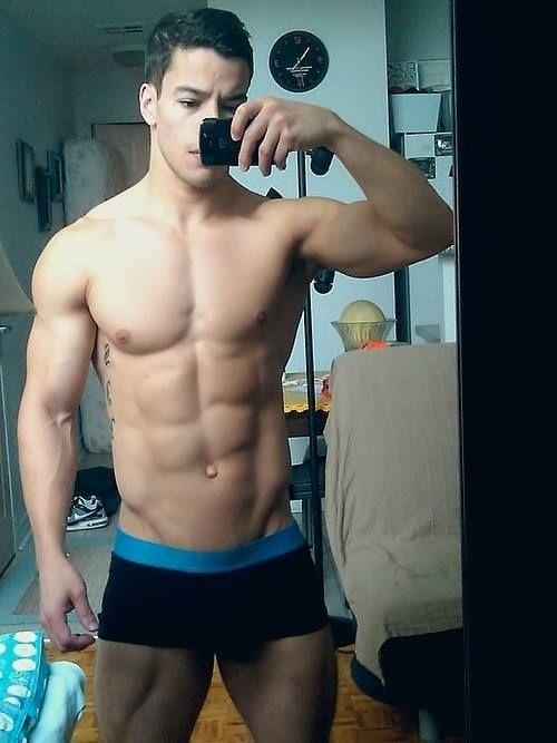 Shirtless male selfies