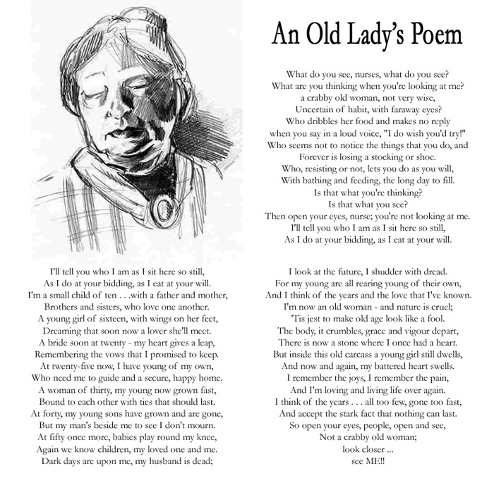 poetry and lady Old lady poems examples of all types of old lady poems share, read, and learn about these poems about old lady.