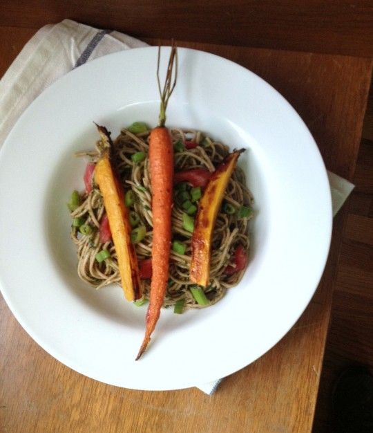 Soba Noodle Salad with Miso Chard Pesto and Honey Roasted Carrots ...