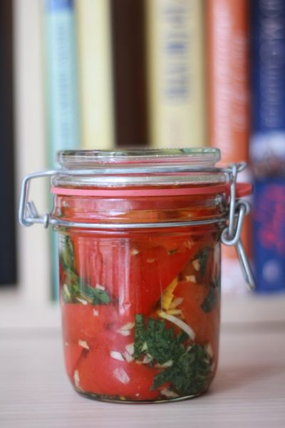 Marinated Roasted Red Peppers with Basil