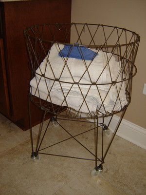 Primitive country collapsible wire laundry basket hamper on wheels - Collapsible laundry basket with wheels ...