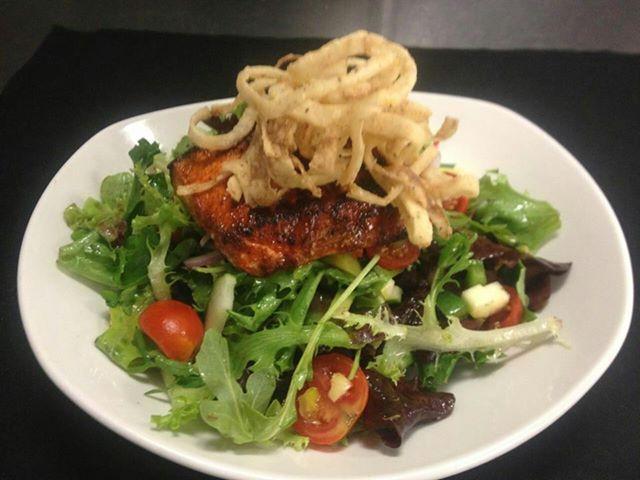 Blackened Swordfish Salad! Arugula, field greens, tomatoes, crunchy ...