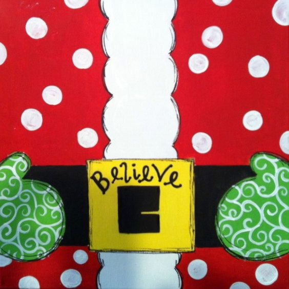 Christmas Painting Ideas Toddlers : Personalized christmas santa belt canvas