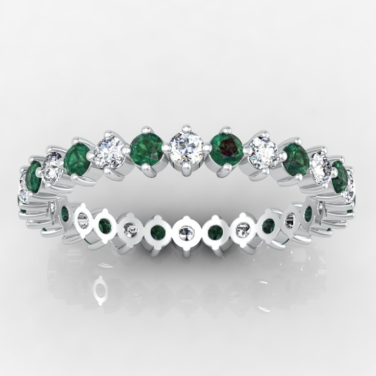 And emerald round open prong eternity ring for jenny wisemiller