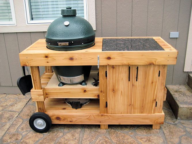 cabinet with shelf beneath BGE | Big Green Egg Tables | Pinter