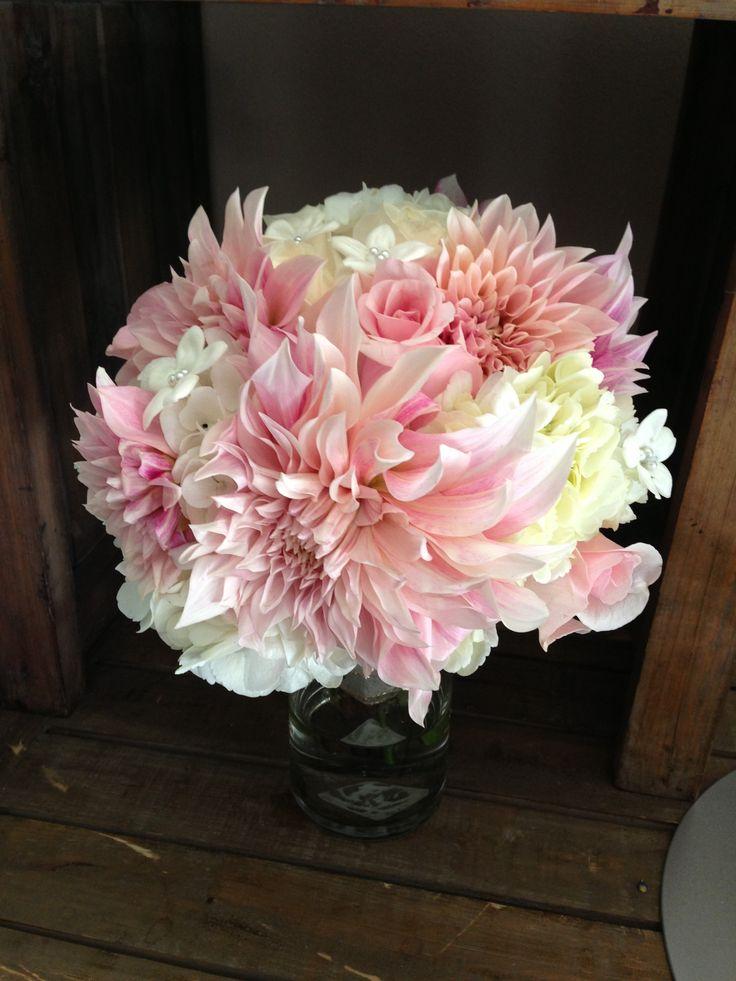 light pink dahlia bouquet with hydrangea and stephanotis