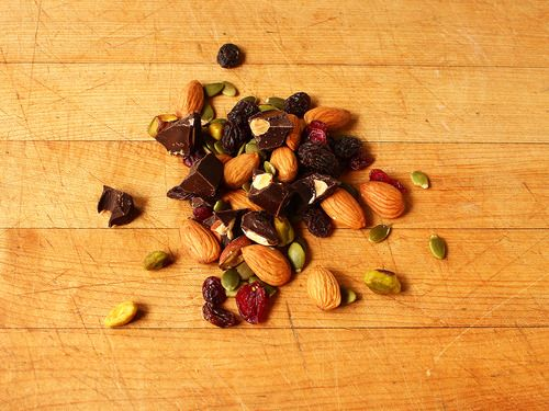 Trail mix - raw almonds, pistachios, pumpkin seeds, raisins, dried ...