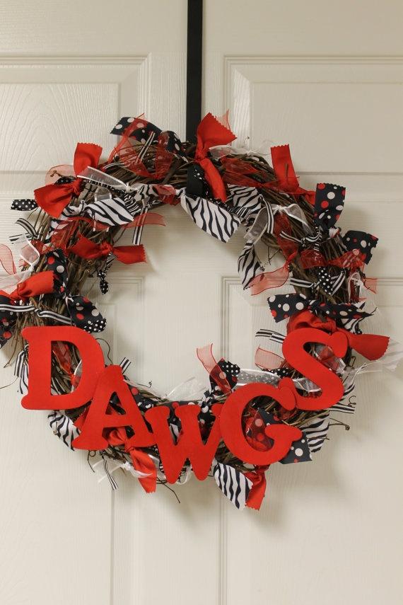 Georgia Bulldogs Ribbon Wreath by aliciasosebee on Etsy, $38.00