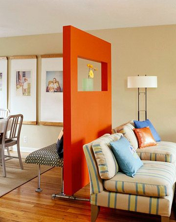 Build a divider wall. | 27 Ways To Maximize Space With Room Dividers