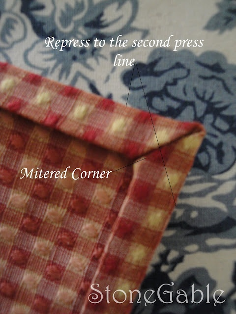 Great tutorial on making your own napkins with mitered corners.  There is both a sew and no-sew method.