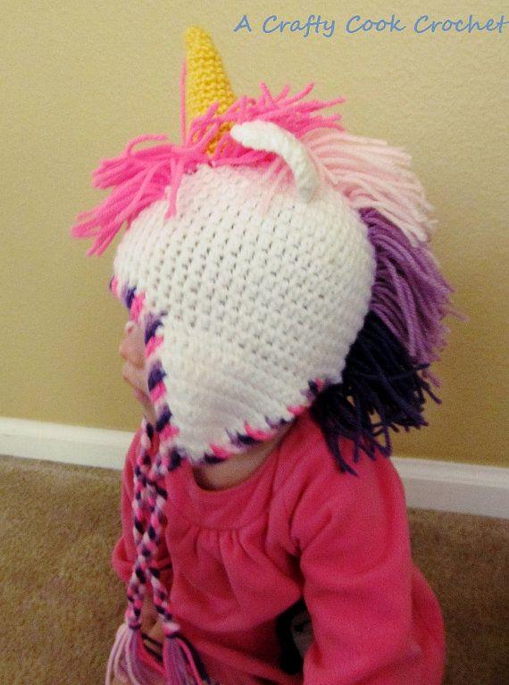 Crochet Unicorn Hat by Erinsyarncreations on Etsy, $24.00